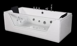 Vasca Idromassaggio da bagno 185x90cm con vetro su parete e luci per ...
