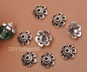 20pcs-Tibetan-silver-charm-hollow-flower-beads-cap-Bead-Caps-10x4mm-B3191