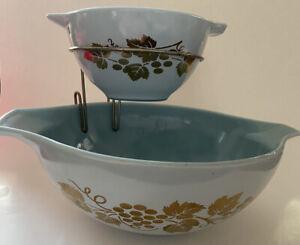 Vintage Pyrex Chip & Dip Set Golden Grapes Blue Inside Cinderella Bowls