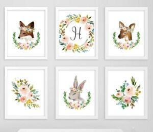 Ciervo de Conejo Zorro Boho Vivero impresiones monograma personalizado Conjunto de arte floral 6 605-A