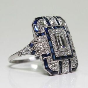 Art-Deco-Large-925-Jewelry-Sterling-Silver-Blue-Sapphire-amp-Diamond-Ring-Hot