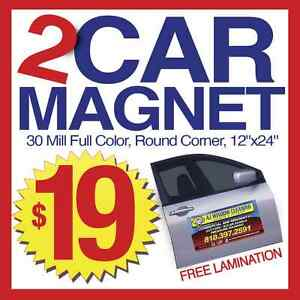 2 car magnets full color auto van truck car signs 12x24in for 12 x 24 car door magnets