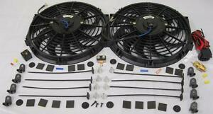 """Dual 14/"""" Heavy Duty Curve S-Blade Electric Radiator Cooling Fan /& Thermostat Kit"""