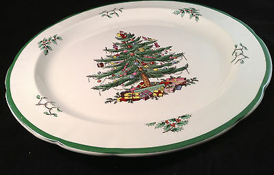 Spode England Christmas Tree Round Platter S3324 C 12 1/2 Inches Green Trim