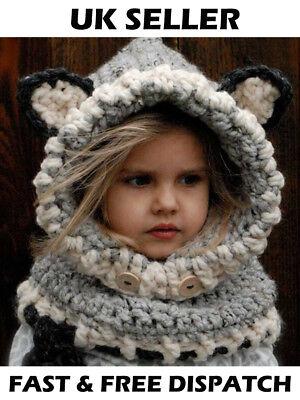 Diligente Hand Made Ragazze Bambino Baby Grey Fox Orecchie Cappello Inverno Caldo Lanoso Sciarpa Collo Carino- Alta Qualità E Basso Sovraccarico