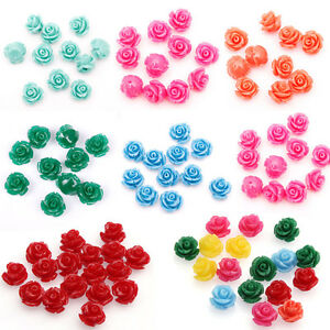Hot-Wholesale10-20pcs-Gorgeous-Rose-Flower-Coral-Resin-Spacer-Beads-10-12-15MM