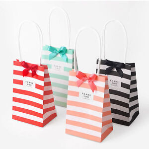 10 50x Cross Stripe Paper Party Loot Bags Handles
