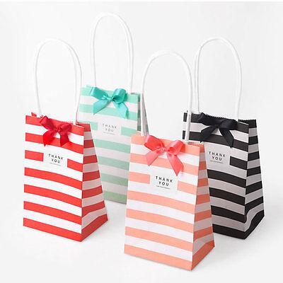 5//10//20x Cross Stripe Paper Party Loot Handles Bags Wedding Birthday Gift Bags