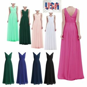 US Women Evening Dress Bridesmaid Wedding Prom Maxi Long Dress Ball Gown Formal