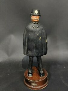 Antique-Dated-1890-Police-Models-Heavy-Resin-On-Wooden-Stand