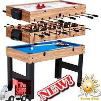 48 3-in-1 Multi-game Combo Table Billiards Slide Hockey Soccer Kids & Adult