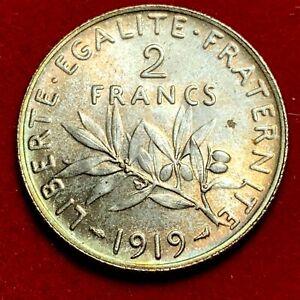 #5263 - 2 francs 1919 Semeuse Argent SPL belle qualité - FACTURE