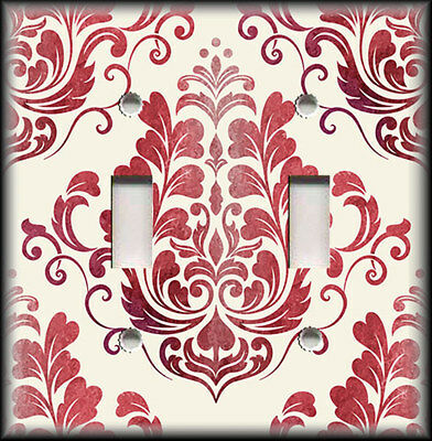 Switch Plate Cover - Vintage Damask - Red Cream - Home Decor / Nursery Decor