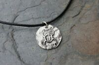 Ancient Scarab Disc On Leather Necklace - Egyptian Protection And Luck Symbol