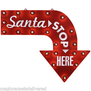 image is loading new santa stop here christmas sign led lighted - Lighted Christmas Signs