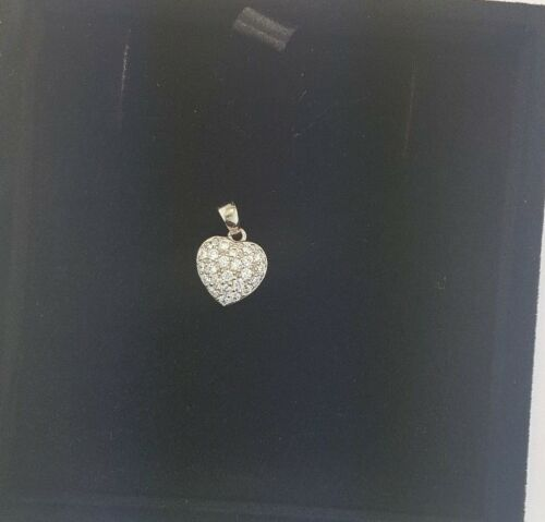 0.25 CT Diamond Pave Cluster Heart Pendant Charm 14K Solid White Gold