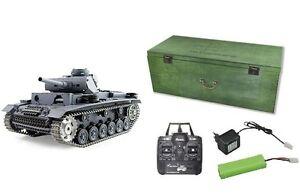 RC-Panzer-Panzer-III-Schuss-Rauch-Sound-Metallgetriebe-Metallketten-NEU-23046