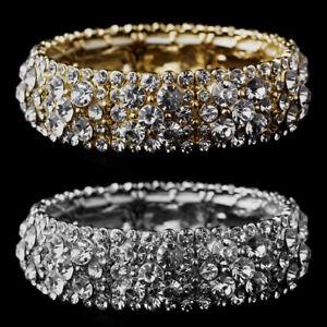 Stretch-Bracelet-with-Crystal-Glass-Rhinestones-Gold-Silver-Jewelry-New