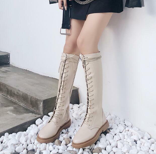 Korean Womens Casual Low Heels Lace Up Knee High Boots Riding shoes Sz 35-40