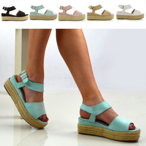 Size 3 8 Wedge Womens Heel Summer Peep Espadrilles Toe Platform Sandals Ladies vPvqwzZ