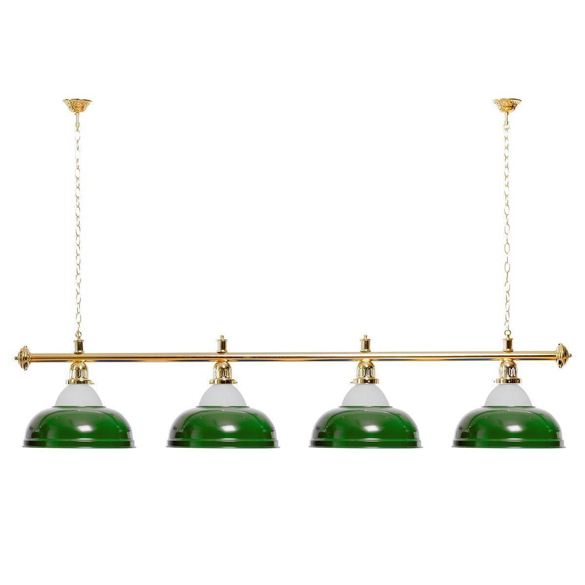 Billardlampe 4 Schirme grün mit Glas Glas Glas   Goldfarbene Halterung 5e66d9