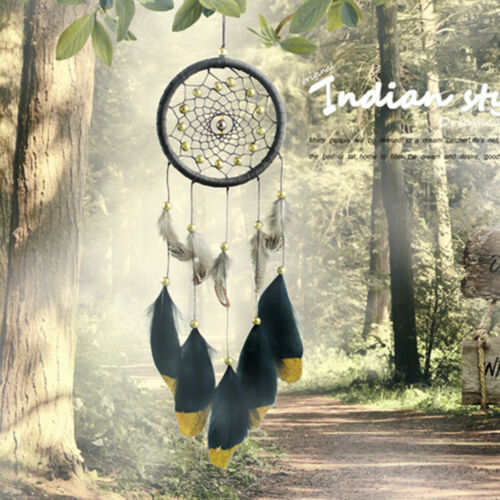 Handmade Brown PU Leather Dream Catcher With Gold Beads Home Room Decor Gift