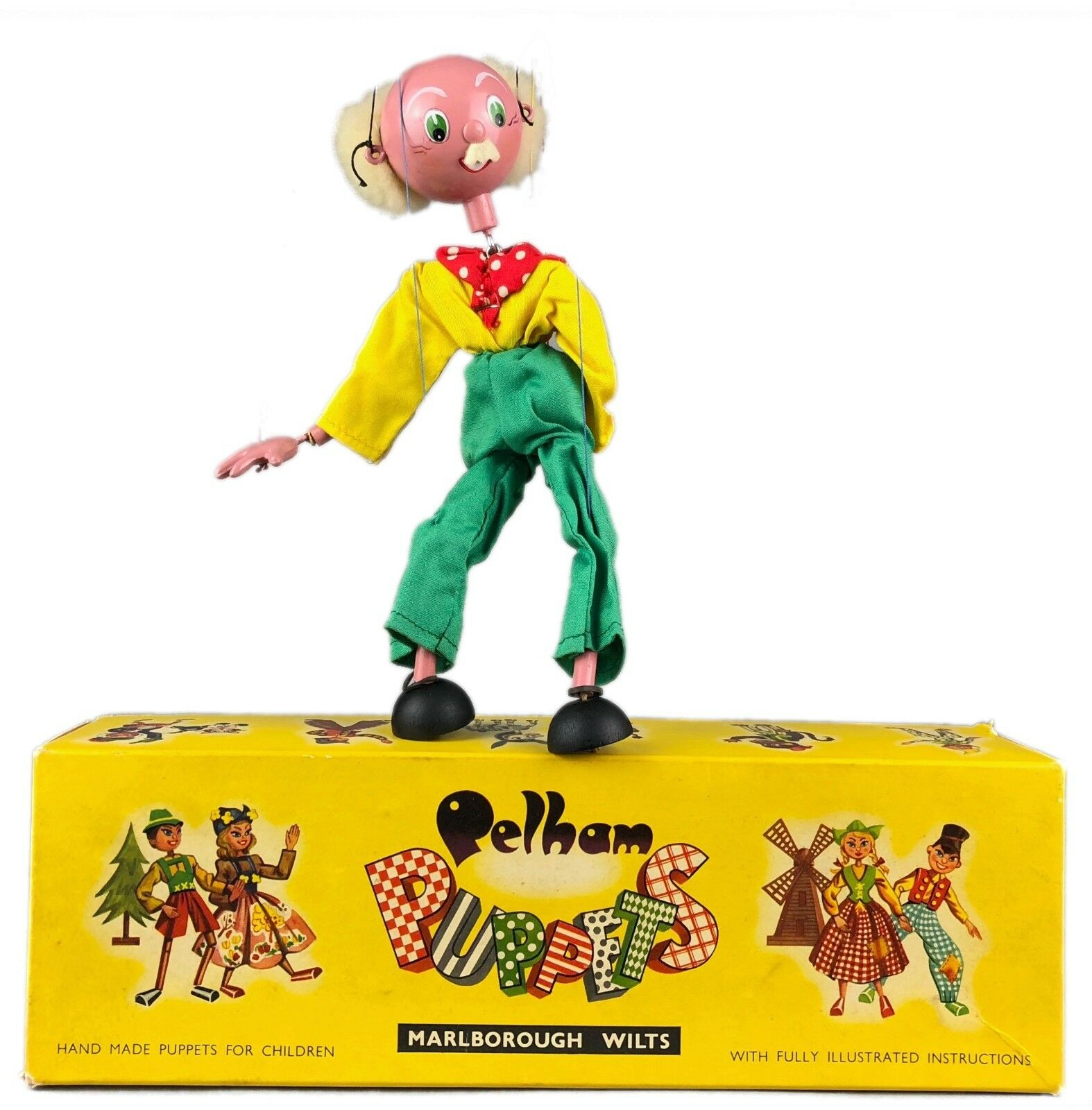PELHAM PUPPETS -JC GRANDFATHER- 1960's OLD MAN DAD PA CHARACTER FIGURE TOY BOXED