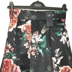 NEW M/&S 10-24 Velvet Floral Print Fit /& Flared Midi A-Line Skirt Black Grey