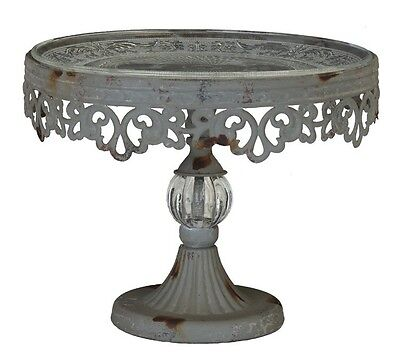 PEDESTAL CAKE STAND Metal  Filigree with Glass Dessert PLATE Vintage Style