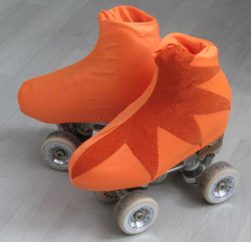 Eislaufen Stiefelschoner Overboot für Rollkunstlauf/Eiskunstlauf 34-37 orangeglitzer Stern