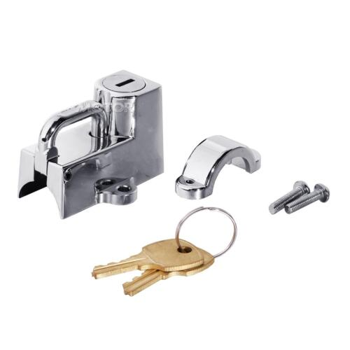 "Universal 7//8/"" and 1/"" Motorcycle Sport Bike Chrome D-ring Helmet Lock With Keys"