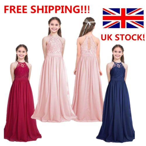 Girls Lace Chiffon Dress Party Princess Flower Girl Dress Wedding Prom Gown UK