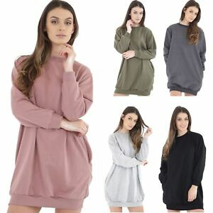 Details about Ladies Baggy Pockets Oversize Crew Neck Casual Sweatshirt  Jacket Dress Plus Size