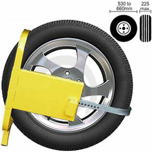 AMTECH HEAVY DUTY WHEEL CLAMP SAFETY LOCK CARS CARAVANS TRAILERS SMALL SECURITY