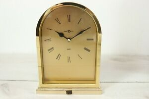 Vintage Howard Miller Quartz Brass Mantel Desk Clock Japan Martin Marietta Award