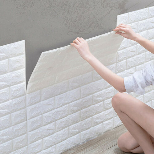 10pcs 3D Tile Brick Wall Sticker Self-adhesive Waterproof Foam Panel Wallpaper P