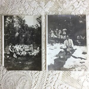Antique Photo School Picnic Beaver Creek Bridge 1900s Klamath Forest CA Franklin