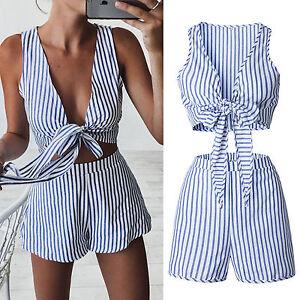 64339ab54d4 Womens Striped Co-Ord Set Mini Playsuit Jumpsuit Summer Beach ...