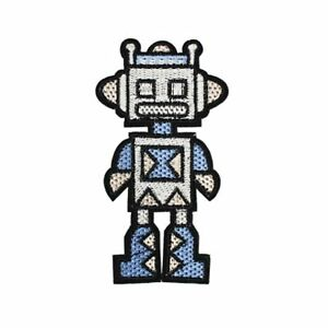Retro-Robot-Iron-On-Embroidered-Patch-Space-Sci-Fi-Applique-Sew-BNWT-NEW-Gift