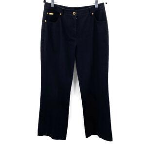 St-John-Sport-Womens-Size-10-Jeans-Black-High-Waist-Boot-Cut-Stretch-Gold