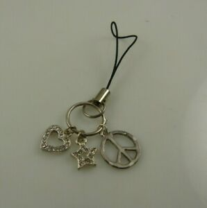Peace-heart-star-bling-Cell-phone-charm-purse-strap