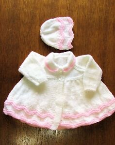 40e396192bb5 white and pink matinee set new 0 to 3 months hand knitted coat and ...