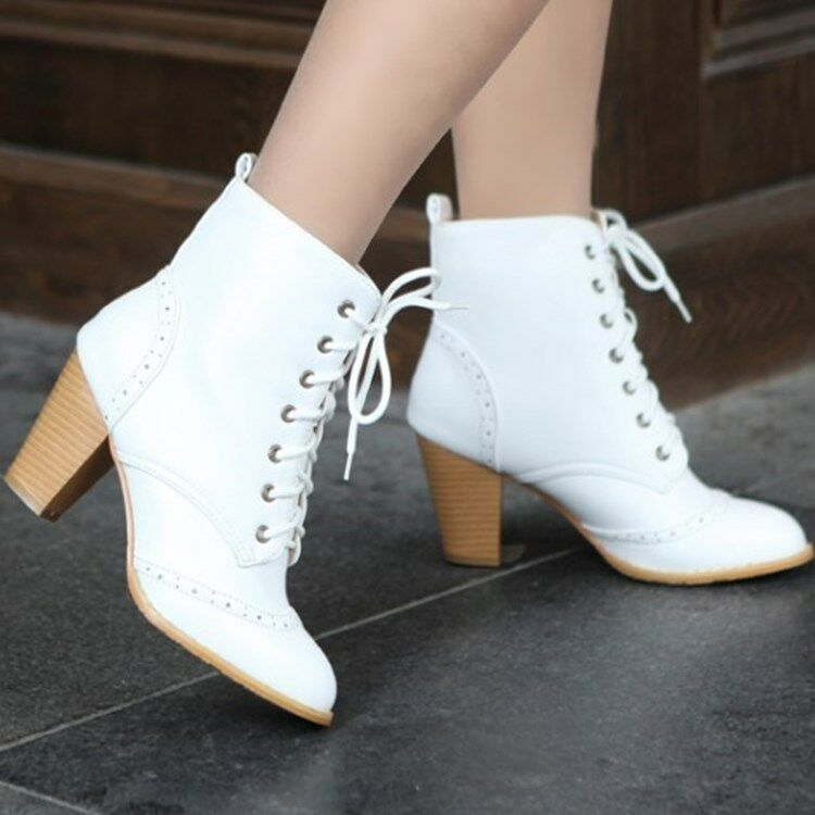 Ladies Retro Wing Tip Brogue Chunky Heels Lace up Women's British Style shoes