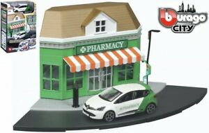 Bburago Build Your City - Pharmacy Store Bausatz 1:43 mit Renault Clio