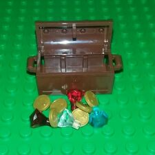*NEW* Lego Brown Treasure Chest Red Gold Coins Diamond Jewels for Figures x 1