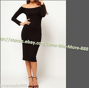 WomenS Wear Work Business CASUAL Puffy shoulder Pencil Wiggle BODYCON Dress