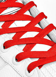 FLAT-RED-SHOE-LACES-LONG-SHOELACES-8mm-wide-11-LENGTHS-HIGH-QUALITY