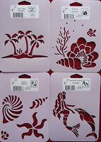Stencil Set Of 4 Palm Trees Seashells Sea Shells Mermaid Dolphin Sea Ocean Beach