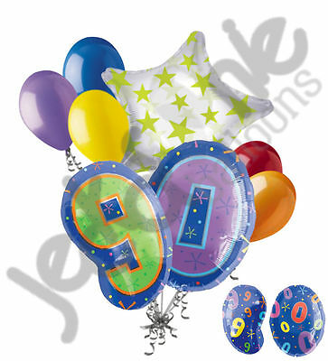 8 pc 90th Birthday Theme Balloon Bouquet Party Decoration Number Primary Color