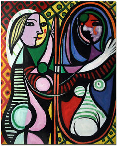 Girl-before-a-Mirror-Hand-Painted-Picasso-Oil-Painting-On-Canvas-60x50cm